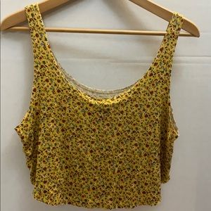 Forever 21 Mustard and Floral Cropped Tank